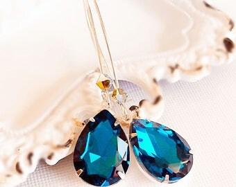 Victorian Earrings - Teal - Jewelry Gift - Crystal Earrings - SOMERSET Teal