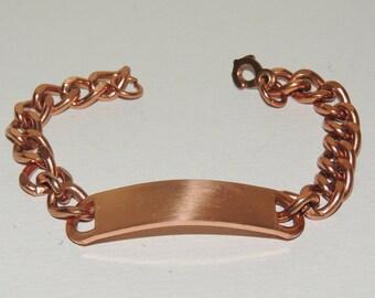 Solid Copper 33.4 gm ID Bracelet 8 1/2