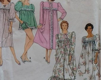 Simplicity 9929 Misses 1990s Baby Doll Pajamas, Nightgown and Robe in Two Lengths  Misses Size 6 to 24 Bust 30 to 46