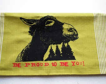 Fair Trade handwoven tea towel 'Be proud to be you'