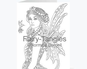 Printable Fairy Tangles Greeting Cards to Color by Norma J Burnell 5 x 7 inch Fairy Greeting Cards for Coloring Card Making Fairies to Color