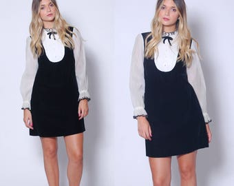 Vintage 60s Black Velvet Mini Dress Goth Dress WEDNESDAY ADDAMS Dress 60s Mini Dress