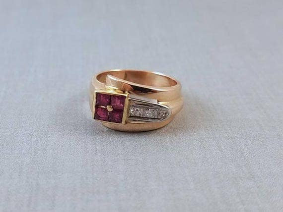 Vintage Art Deco Retro Moderne 14k rose gold and platinum ruby and diamond ring size 5