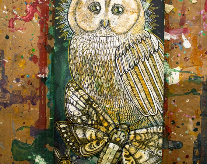 "Original ""Nightdreams"" Mystical owl and moth painting by Lynnette Shelley"