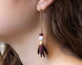 Lace earrings - INDICA - Black, burgundy or teal lace with middle eastern or modernist metal finish