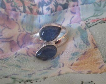 RING -  DOUBLE  - KYANITE - Blue  - 925 - Sterling Silver - Size 8 Ajustable Blue411