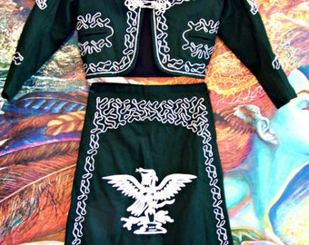 Mariachi, Child Costume, Mexican, Embroidered, 2 piece set, Green and Silver, Youth