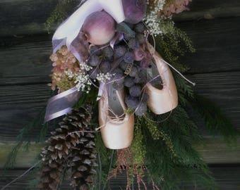 Sugar Plum Fairy Ballerina Dried Floral Spray Wall Swag