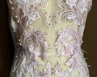 Pink 3d Lace Long Applique, Rhinestones, Faux Pearls, Ostrich Feathers for Grad, Prom, Bridal, Couture Gowns, Lyrical Dance or Ballet