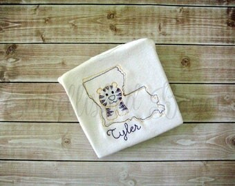 Louisiana Tiger Vintage Stitch Personalized Onesie or T-shirt