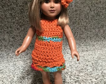 American Girl Doll Clothing Set/Wardrobe/Matching Outfit Orange Dress With Matching Hat and Booties