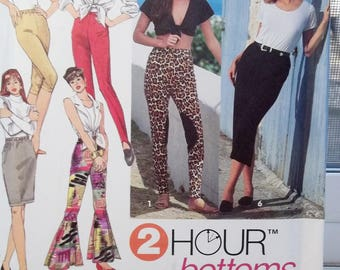 Vintage Simplicity 8497 2 Hour Sewing Pattern, Easy to Sew Capris, Leggings, Stir Up, Pants, Stretch Knit Pants Size 6 - 16 UNCUT Pattern