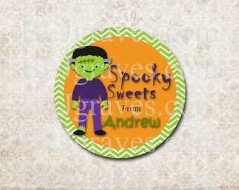 Personalized Halloween Stickers Spooky Sweets Frankenstein Stickers Party Favor Treat Bag Stickers SH025