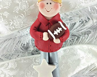 Football Coach Christmas Ornament - Gift for Football Coach - Personalized Handmade Polymer Clay Football Ornament - Football Fan -6262
