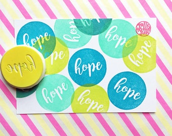 hope rubber stamp. circle hand carved stamp. hand lettering. christmas crafts. new year's card making. diy gift tags. stamps by talktothesun