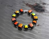 Copper Earth and Black Dichroic Glass Bracelet