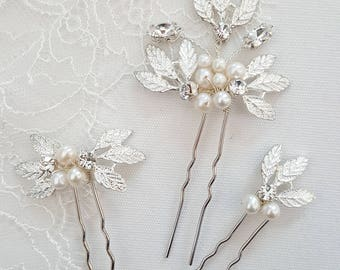 Wedding Hair Pins, Bridal Hair Pins, Freshwater Pearl Wedding Hair Pins, Gold Pearl Bridal Hair Pins
