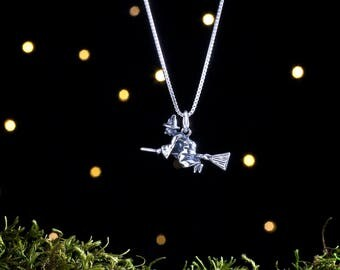 Sterling Silver Flying Witch on a Broom - 3D Double Sided - (Charm, Necklace, or Earrings)