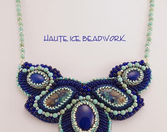 Denim Dream Lapis and Azurite Bead Embroidered Necklace