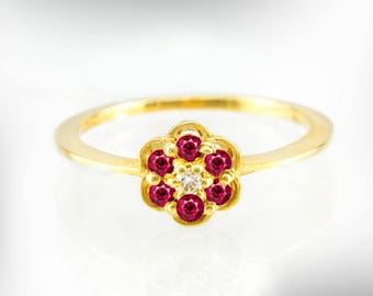Vintage Engagement Ring, 14K / 18K Gold Flower Diamond and Ruby Engagement Ring, July Birthstone Engagement Ring for Women, Free Shipping