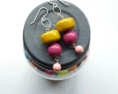 mischief - earrings - mustard, magenta, pink - sterling silver chain earrings - chunky jewellery - lightweight earrings
