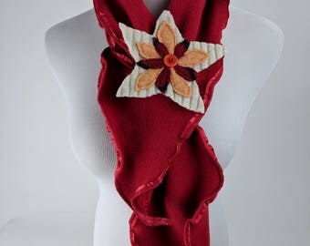 Fleece Key-Hole Scarf With Flower Pin– Ruffle Scarf, Fleece Scarf, Felted Flower Scarf, Flower Clip, Flower Pin, Winter scarf, Gift for Her