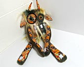 Stuffed Monster - Monster Plush - Handmade Plush Monster - Hand Embroidered OOAK Monster Toy - Copper Multi Faux Fur - Cute Weird Plush Toy