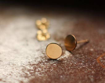 Polka Dot Gold Post Earrings- Free Shipping, gold earrings, gold posts, gold studs, minimalist earrings