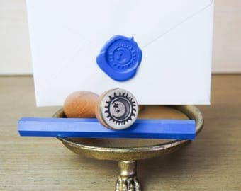 Sun and Moon Wax Seal Stamp with Sealing Wax Sticks