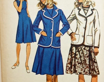 "Vintage 1970s Sewing Pattern, Simplicity 9866, Misses' Dress and Blazer, Misses' Size 12, Bust 34"", UNCUT, FF"