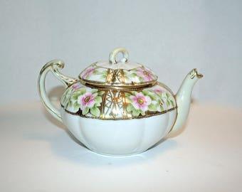 Nippon Teapot, Gold Gilded, Vintage Teapot, Fine China, Hand Painted Pot, Apple Blossom Pot, Tea Maker, Tea Party, Porcelain Teapot