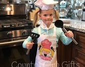 Chef kids apron |  personalized apron | youth Apron | kids | Child | Cooking | mommy's helper | Girl Chef | Boy Chef | Child Apron | Chef