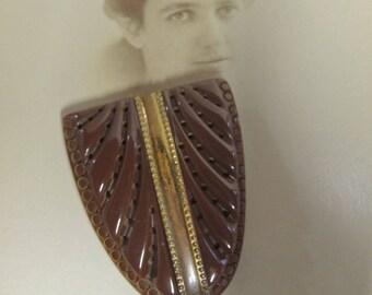 Vintage Bakelite Fur Clip, Dress Clip, Art Deco Clip. Brown And Gold Bakelite Clip