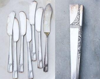 6 Vintage Silver Plate Butter Knives / 1930's Caprice Pattern / Master Butter Knife / Nobility Plate Flatware