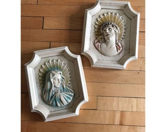 Vintage Chalkware Virgin Mary and Jesus Wall Hangings