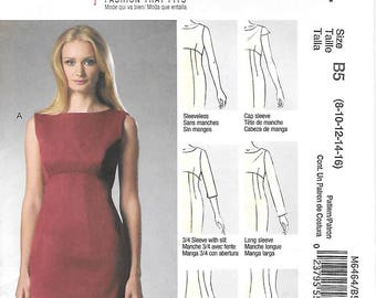 McCalls M6464 UNCUT Misses Raised Waist Fitted Dress with Sleeve Variations Sewing Pattern Sizes 8 to 16 Sleeveless Dress
