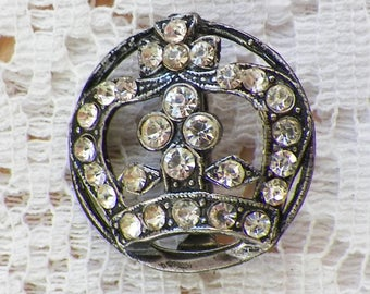 Vintage Small Clear Rhinestone Crown Brooch / Pin, Round, Silver Tone Metal, Royal / Regal, French Embellishment, Crown Shaped