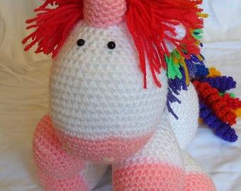 Crochet Stuffed Unicorn Soft Cuddly Toy Amigurumi Cute Rainbow Unicorn Kids Fluffy The Unicorn Plushie