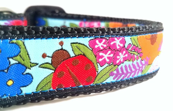 Tropical Flowers - Dog Collar / Handmade / Large Dog Collar / Flowers / Ladybug / Martingale / Dog Collar / Pet Lover / Adjustable