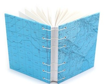 Bathymetric Chart Journal #6, handmade by Ruth Bleakley out of Nautical Charts - 160 Page Unlined Journal