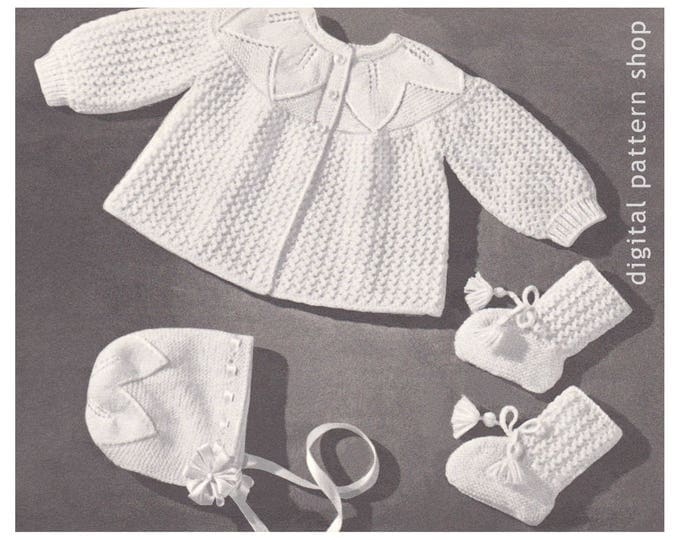 Baby Knitting Pattern Sweater Bonnet Booties Leaf & Lace Set Instant Download