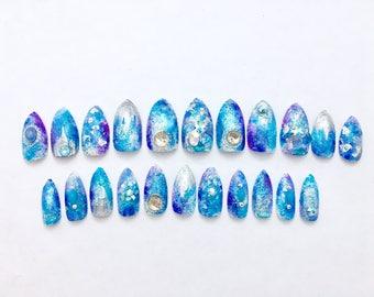 Mermaid Dream | Mermaid Stiletto Fake Nails | Bling Nail | 3D Fake Nails | Press On Nails | Japanese Nail Art | Acrylic Nails | False Nails