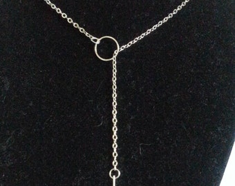 Christmas jewelry long silver women necklace with bar and ring