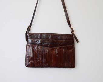 1970s/1980s Brown Eel Skin Shoulder Bag