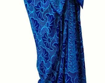 Beach Sarong Hawaiian Pareo Wrap Skirt Womens or Mens Clothing Cobalt Blue & Turquoise Gingko Leaf Sarong Beach Skirt Swimwear Batik Sarong