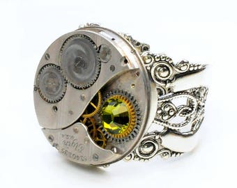 Antique 1922 Elgin Watch Movement and Olivine Crystal Steampunk Ring