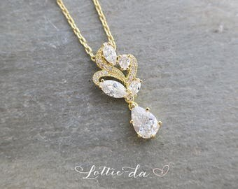 Gold Vintage Style Crystal Wedding Necklace, Vintage Style 1920s Gatsby Bridal Necklace, Bridesmaid Necklace, Wedding Necklace - 'ALLURA'