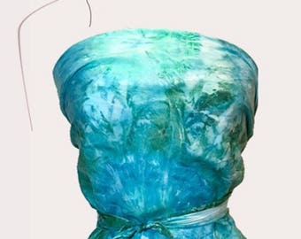Ocean blue and seaweed green tie dye abstract large square silk crepe de chine hand painted scarf