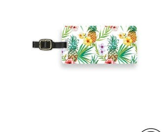 Luggage Tag Tropical Pineapple Summer Hibiscus Personalized Metal Luggage Tag  With Printed Custom Info On Back, Single Tag