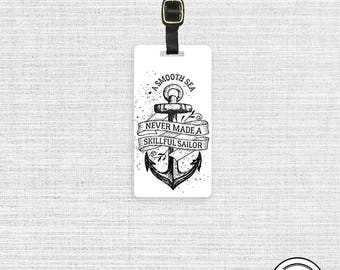Luggage Tag Smooth Seas Sailor Metal Luggage Tag Custom Info On Back, Single Tag